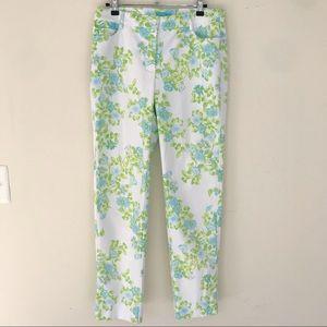 J. McLaughlin Green Floral Skinny Pants